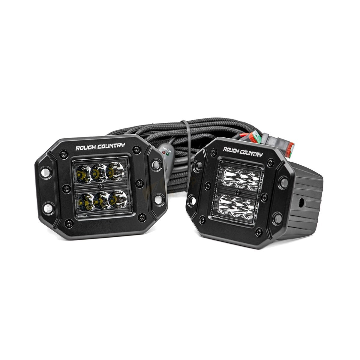 Rough Country 2 Inch Cree Led Square Flush Mount Lights Pair Black Series 70803bl