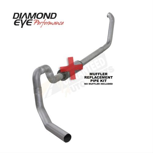 "Diamond Eye Performance Aluminized 4"" Single Turbo Back Exhaust System - No Muffler - K4332A-RP"