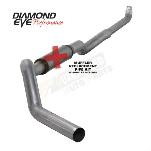 "Diamond Eye Performance Aluminized 5"" Single Downpipe Back Exhaust System - No Muffler - K5118A-RP"