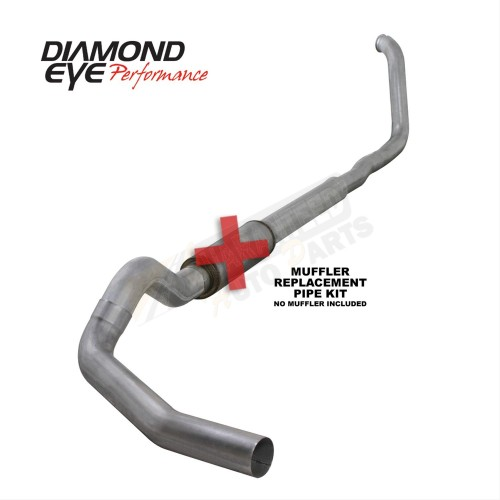 "Diamond Eye Performance Aluminized 5"" Single Turbo Back Exhaust System - No Muffler - K5322A-RP"