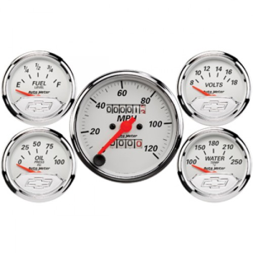 Autometer GM Performance Parts Kit Box Gauge - Mech Speedo & Elec Oil  Press  / Water Temp  / Volts / Fuel Level - (Size: Kit, 3 1/8