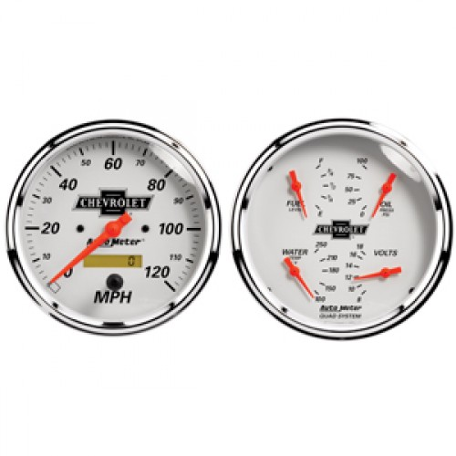 Autometer GM Performance Parts Kit Box Gauge - Elec Speedo & Elec Oil  Press  / Water Temp  / Volts / Fuel Level - (Size: Kit, 5