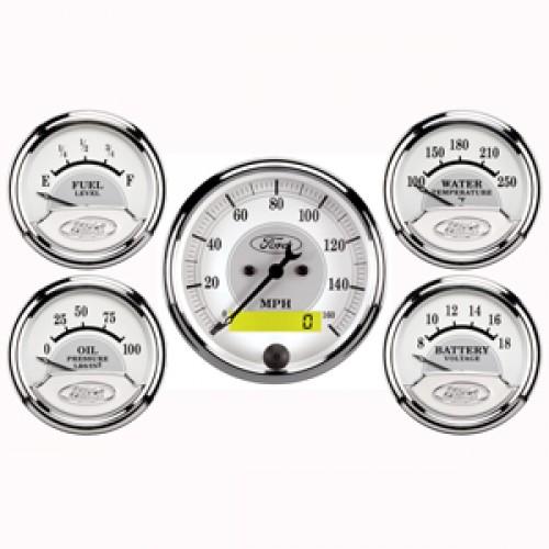 Autometer Ford Racing Kit Box Gauge - Elec Speedo & Elec Oil Press  / Water  Temp  / Volts / Fuel Level - (Size: Kit, 3 1/8